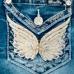 Miss Me Butterfly Jeans Size 29 X 33 Boot Cut